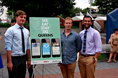 The tech team that designed This Is Queens show off their new app at the Billie Jean King tennis center