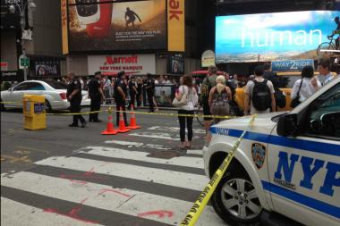 A man was stabbed in Times Square near the Disney Store June 18, 2013.