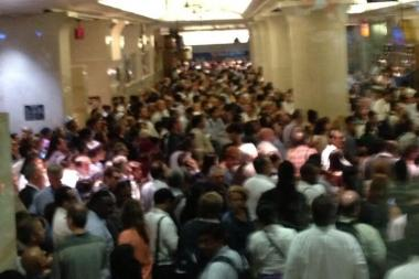 Passengers stranded in Penn Station after a derailed LIRR train left a number of lines cancelled, June 17.