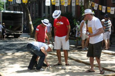 The neighborhood celebrates the Bastille Day, July 14, with an annual petanque tournament and street fair.