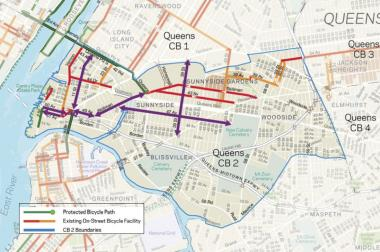 The purple lines show new bikes lanes proposed by the DOT.