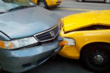 An MTA bus and taxi smashed into each other on Monday, setting off a series of collisions.