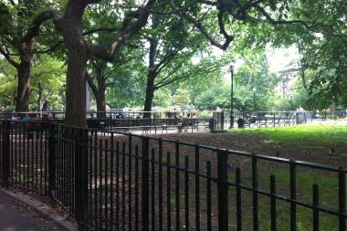 A field in Tompkins Square Park on July 27, 2013, where police found a man's body earlier in the day.