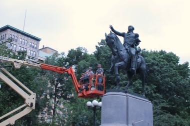In time for the Fourth of July, Union Square's patriotic statues are getting a little TLC.