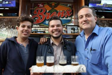 The Bronx Beer Hall owners Paul Ramirez, Anthony Ramirez II and David Greco. The Beer Hall is co-organizing, with the Jolly Tinker Bar, the Great Bronx Bar Tour on July 13, 2013.