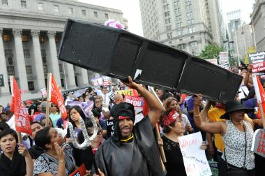 About 500 people marched over the Brooklyn Bridge and then gathered in Foley Square in Manhattan to protest the proposed closure of four Brooklyn Hospitals: Interfaith, Brookdale, Long Island College Hospital and Downstate on July 24, 2013