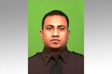 Officer Jamil Sarwar was shot in the leg while chasing a gunman in East New York, cops said.