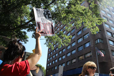 "A protester holds up a sign, which reads ""Hope for LICH"" in front of Long Island College Hospital, July 29, 2013."