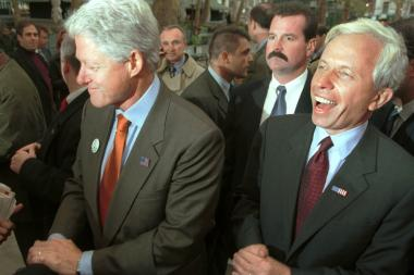 Mark Green, pictured here with Bill Clinton in his 2001 mayoral bid, signed a petition to put Eliot Spitzer on the ballot for the comptroller's race.