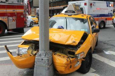 Two cabs collided with each other on the 52nd Street and 7th Avenue intersection on July 15, 2013.