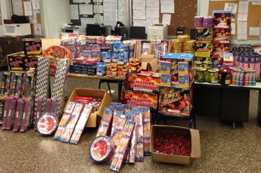 Police allegedly seized 50 boxes of fireworks and pounds of explosives from a Queens home Wednesday, July 3, 2013.