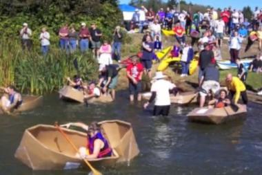 Participants in a cardboard boat race will have two hours to construct buoyant vessels on July 20, 2013.