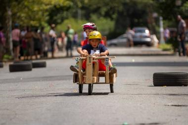 About 60 competitors participated in last year's soap box derby on 17th Street in the South Slope.