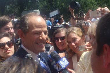 Former Gov. Eliot Spitzer speaks to the press on the first day of his campaign for comptroller.