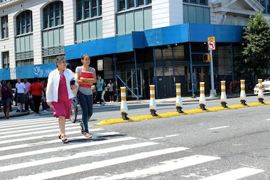 The intersection at Thomson and Skillman Avenues is a frequent crossing point for students from LaGuardia Community College and several other nearby schools.