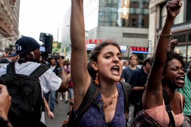 Hundreds of protesters rallied in Union Square on July 14, 2013 and then marched to Times Square to protest the acquittal of George Zimmerman in the death of Trayvon Martin.