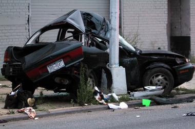 The driver slammed his Saturn into a pole in Claremont Village, cops said.