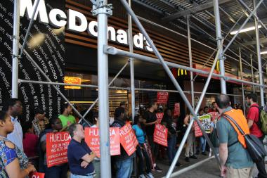 Fast food workers rallied throughout New York City to demand better wages and labor conditions.