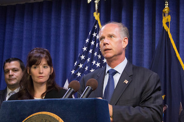 District Attorney Dan Donovan, Police Commissioner Bill Bratton and Fire Commissioner Salvatore Cassano announced that all police officers and EMTs on Staten Island will be equipped with anti-overdose medication, naloxone.