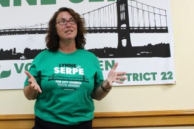 Green Party candidate Lynne Serpe at the opening of her Astoria campaign headquarters on Aug. 15, 2013.
