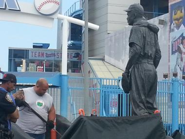 An vandal defaced the Coney Island statue of Jackie Robinson and Pee Wee Reese in with racial slurs and swastikas.