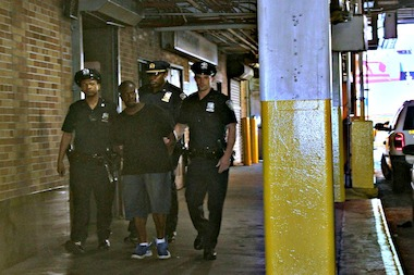 Cops arrest Joseph Johnson, 52, for a rape on August 3, 2013 near the Lincoln Tunnel