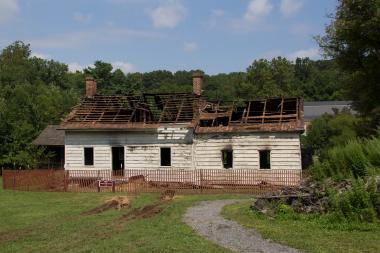The historic Kruser-Finley House, built in 1790, caught fire on Wednesday, August 28, 2013.