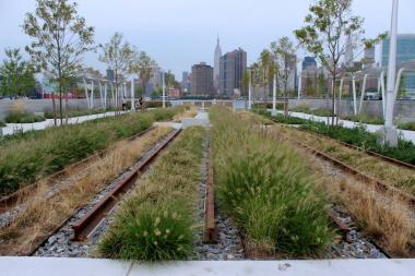 "The new waterfront park at Hunters Point South includes a ""rail garden,"" with plants and flowers growing around a set of train tracks."