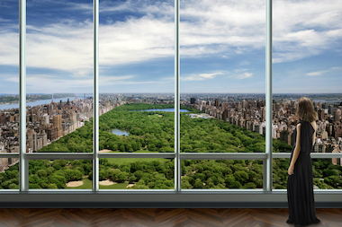 "Rendering of the view from a resident's living room at One57, one of several new ""supertowers"" coming to 57th Street."