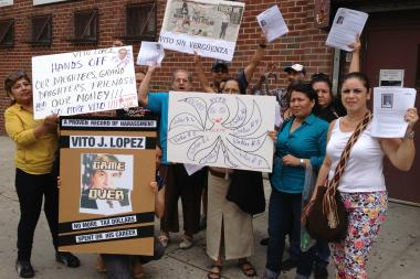 Protesters stood outside the Stanhope Street center of Ridgewood Bushwick Senior Citizens Council.
