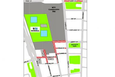 The blocks marked in red will be closed to vehicular traffic and will have limited pedestrian access Sept. 11, 2013.