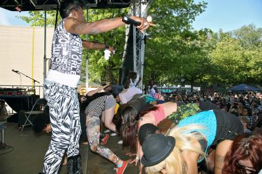 "Big Freedia, a star of the New Orleans ""bounce music"" scene, is aiming to establish the Guinness World Record for ""most people twerking simultaneously"" in Herald Square on Wednesday, Sept. 25, 2013."