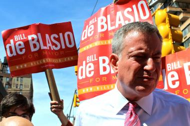 Public Advocate Bill de Blasio campaigning in Manhattan ahead of the primary on Sept. 10, 2013.