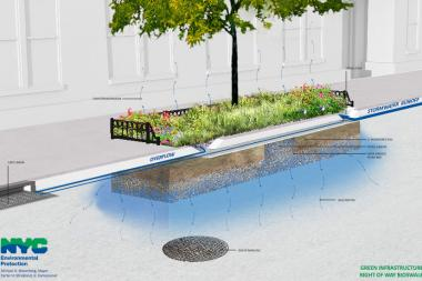 Bioswales are designed to absorb water before it goes into the catch basin, which officials said will divert it from overflowing into places like Newtown Creek.