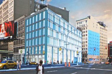 A six-story retail and office building made of translucent brick is planned for the landmarked SoHo-Cast Iron Historic District.