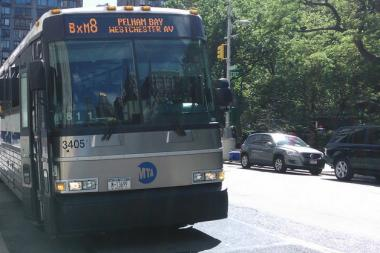 A BxM8 MTA bus hit a woman on Second Avenue between East 123rd and 124th streets on Tuesday morning, officials said.