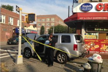 Five students were hurt after a car jumped a curb in Maspeth.