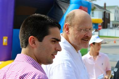 Joe Lhota, right, campaigns with Republican City Councilman Eric Ulrich in the Rockaways on August 31, 2013.