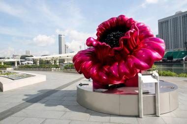 A 10-foot-tall flower will be on display at the plaza from October 2013 to April 2014.