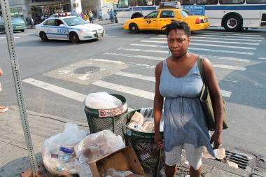 "Kwanza Smith, executive director of the New East Harlem Merchants Association, knows that by the time sanitation trucks arrive tomorrow, the trash will be blowing around the streets. ""This has been going on for years,"" said Smith. ""We've had all this development over the past 10 years so this area shouldn't look like this."""