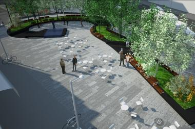 Two mixed-use buildings and a new plaza seating area will begin construction this fall.