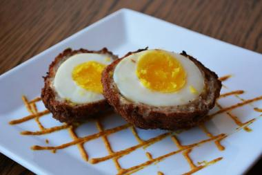 The Scotch Egg at Woodbines, one of six restaurant stops included in Local Finds Food Tours' tasting tour of Long Island City.