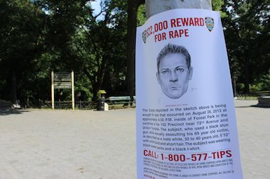 Sketches of the suspect were posted around the park following the August attack.