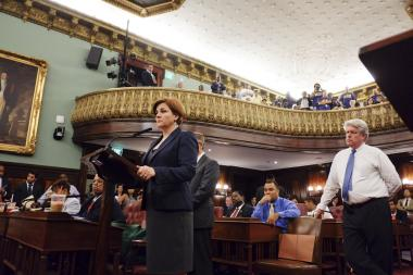 Council Speaker Christine Quinn presiding over a full meeting of the council on August 22, 2013