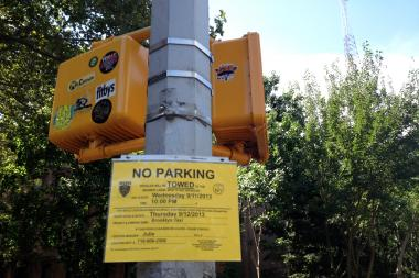 "A ""No Parking"" sign at the site of a television shoot in Brooklyn last year."