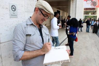 Tim Bush, an illustrator, uses his art to capture street style at New York Fashion Week.