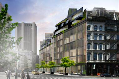 A rendering of the controversial glass condo planned for 100 Franklin St.