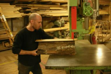 Scott Braun, who has been in the space since before 3rd Ward entered the building, works in his wood shop previously.