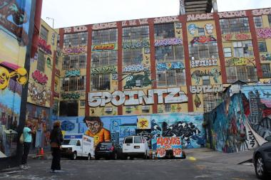 Tourists at graffiti arts center 5 Pointz in Long Island City.
