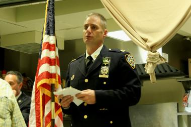 Capt. Justin Lenz lead the community council meeting on Oct. 1 at the Miccio Center.